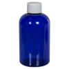 4 oz. Cobalt Blue PET Squat Boston Round Bottle with 20/410 Plain Cap
