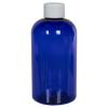 8 oz. Cobalt Blue PET Squat Boston Round Bottle with 24/410 Plain Cap
