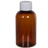2 oz. Clarified Amber PET Squat Boston Round Bottle with 20/410 Plain Cap