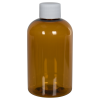 4 oz. Clarified Amber PET Squat Boston Round Bottle with 20/410 Plain Cap