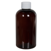 8 oz. Light Amber PET Squat Boston Round Bottle with 24/410 Plain Cap