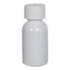 1 oz. White PET Squat Boston Round Bottle with 20/410 CRC Cap