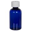 2 oz. Cobalt Blue PET Squat Boston Round Bottle with 20/410 CRC Cap