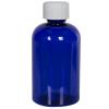 4 oz. Cobalt Blue PET Squat Boston Round Bottle with 20/410 CRC Cap