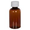2 oz. Clarified Amber PET Squat Boston Round Bottle with 20/410 CRC Cap