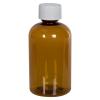 4 oz. Clarified Amber PET Squat Boston Round Bottle with 20/410 CRC Cap