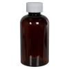6 oz. Light Amber PET Squat Boston Round Bottle with 24/410 CRC Cap