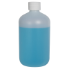 16 oz. HDPE Natural Boston Round Bottle with 28/410 Plain Cap with F217 Liner