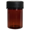 4 oz./120cc Translucent Amber PET Aviator Container with Black CR Cap & Seal