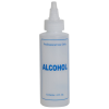 "4 oz. Natural HDPE Cylinder Bottle with 24/410 Twist Open/Close Cap & Blue ""Alcohol"" Embossed"