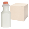 64 oz. Natural HDPE Square Bottles with 38mm Caps - Case of 36