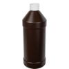 32 oz. Brown HDPE Modern Round Bottle with 28/410 CRC Cap