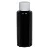 1 oz. Black PET Cylindrical Bottle with 20/410 Plain Cap