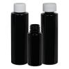 2 oz. Black HDPE Cylindrical Bottle with 20/410 Plain Cap