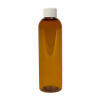 4 oz. Clarified Amber PET Cosmo Round Bottle with Plain 20/410 Cap