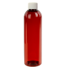 8 oz. Red Amber PET Cosmo Round Bottle with Plain 24/410 Cap