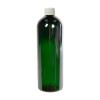 16 oz. Dark Green PET Cosmo Round Bottle with Plain 24/410 Cap