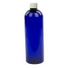 16 oz. Cobalt Blue PET Cosmo Round Bottle with Plain 24/410 Cap