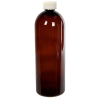 32 oz. Light Amber PET Cosmo Round Bottle with CRC 28/410 Cap