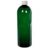 32 oz. Dark Green PET Cosmo Round Bottle with Plain 28/410 Cap