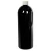 32 oz. Black PET Cosmo Round Bottle with Plain 28/410 Cap