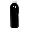 32 oz. Black PET Cosmo Round Bottle with CRC 28/410 Cap