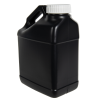 128 oz. Black F-Style Jug with White 63mm Plain Cap with F217 Liner
