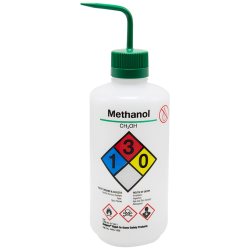 32 oz./1000mL Methanol Nalgene™ Right-To-Know Safety Wash Bottle with Green 38mm Spout Cap