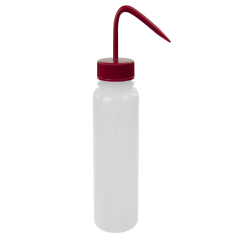 500mL Wide Mouth Wash Bottle with 53mm Red Cap