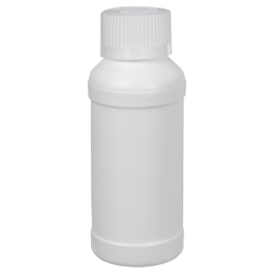 4 oz. White HDPE Modern Round Bottle with 28/410 CRC Cap