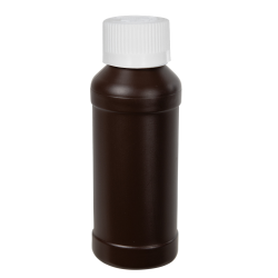4 oz. Brown HDPE Modern Round Bottle with 28/410 CRC Cap