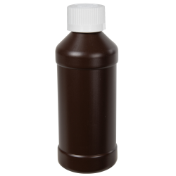 8 oz. Brown HDPE Modern Round Bottle with 28/410 CRC Cap with F217 Liner