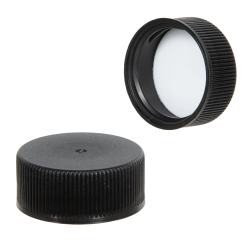 45/400 Black Polypropylene Ribbed Cap with F217 Liner