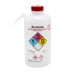 32 oz./1000mL Acetone Nalgene™ Vented Unitary™ Right-To-Know Wash Bottle with Red 38mm Cap