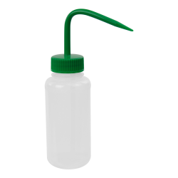 250mL Wide Mouth Wash Bottle with 38mm Green Cap
