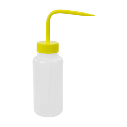 250mL Wide Mouth Wash Bottle with 38mm Yellow Cap