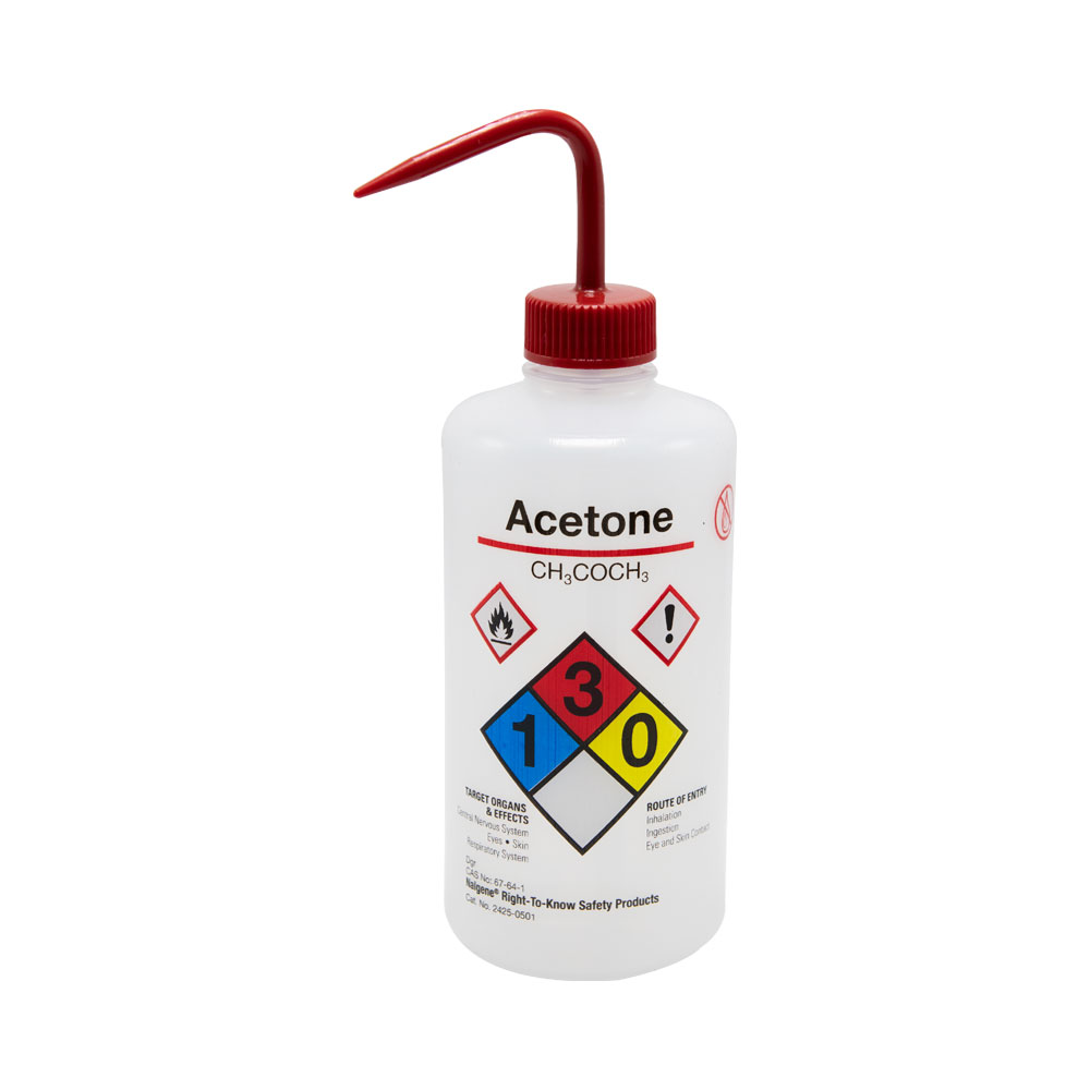 16 oz./500mL Acetone Nalgene™ Right-To-Know Safety Wash Bottle with Red 28mm Spout Cap