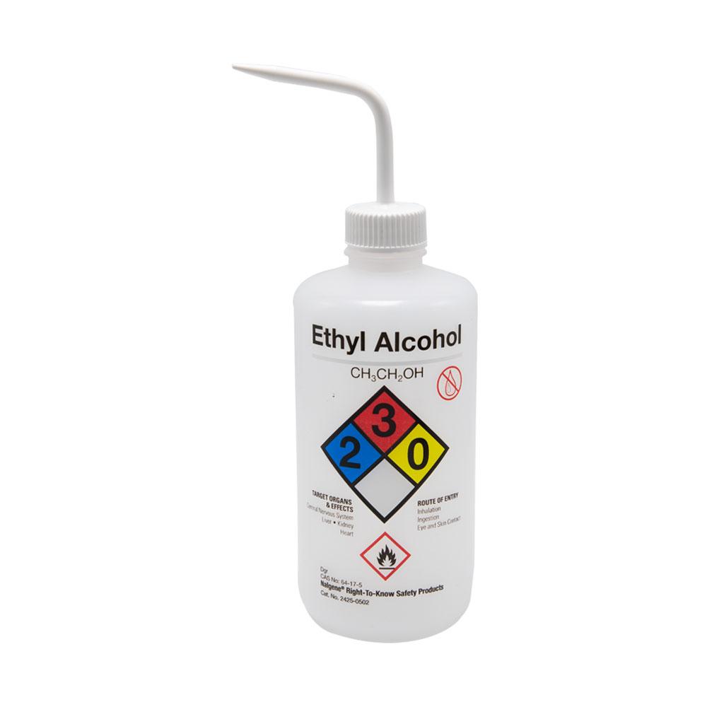 16 oz./500mL Ethanol Nalgene™ Right-To-Know Safety Wash Bottle with White Dispensing Nozzle