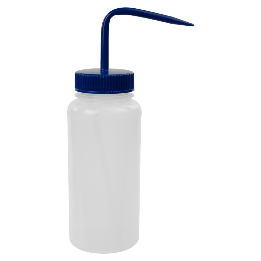 500mL Scienceware® Wide Mouth Wash Bottle with 53mm Blue Cap