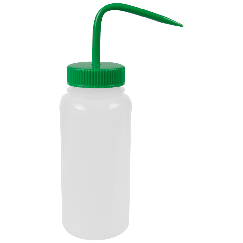 500mL Scienceware® Wide Mouth Wash Bottle with 53mm Green Cap