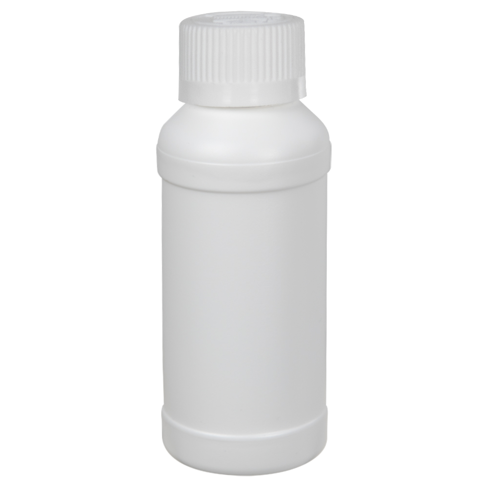4 oz. White HDPE Modern Round Bottle with 28/410 CRC Cap with F217 Liner