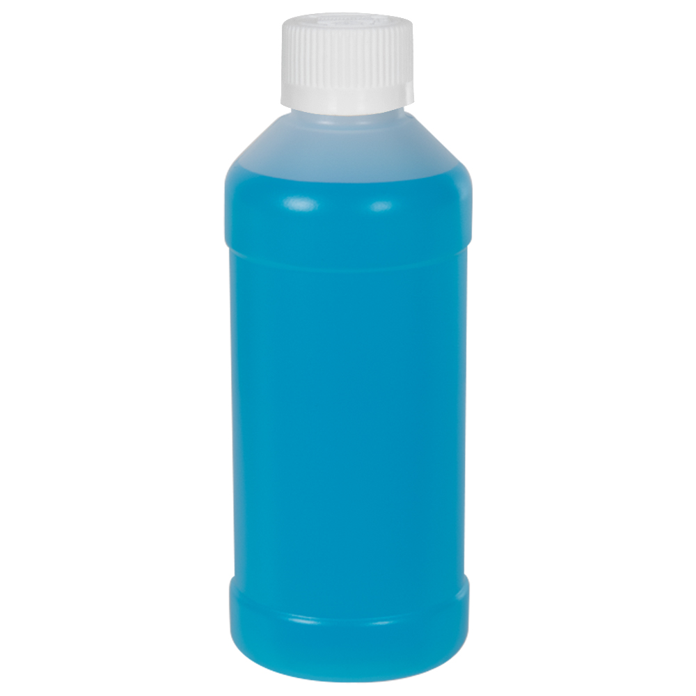8 oz. Natural HDPE Modern Round Bottle with 28/410 CRC Cap with F217 Liner