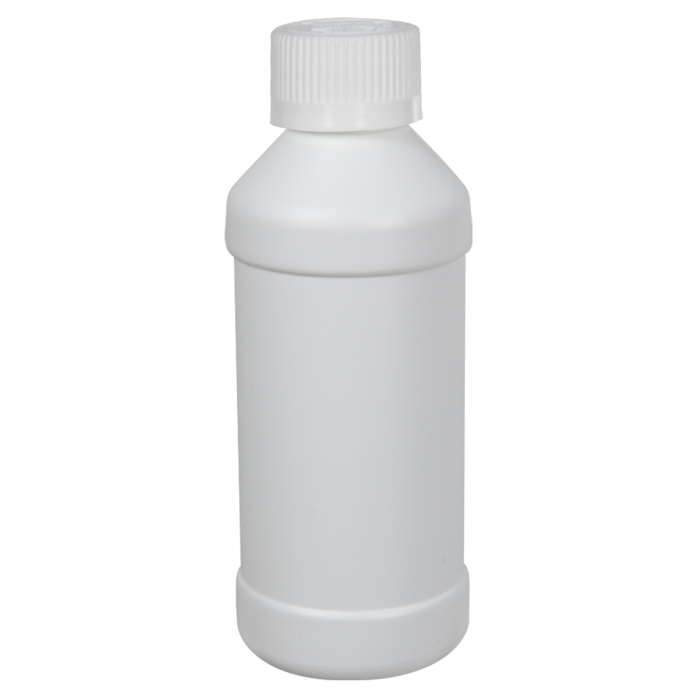 8 oz. White HDPE Modern Round Bottle with 28/410 CRC Cap with F217 Liner