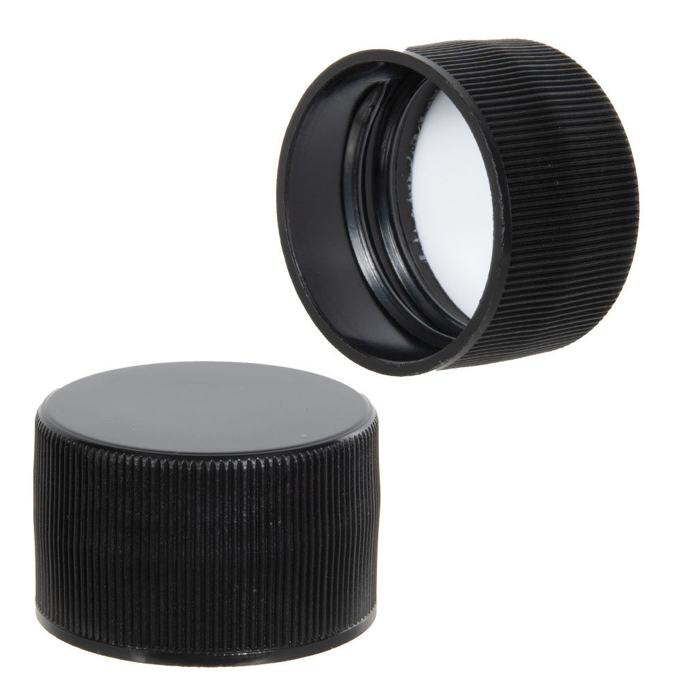 38/400 Black Polypropylene Ribbed Cap with F217 Liner