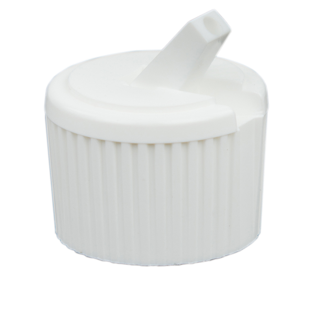 24/410 White Flip-Top Cap