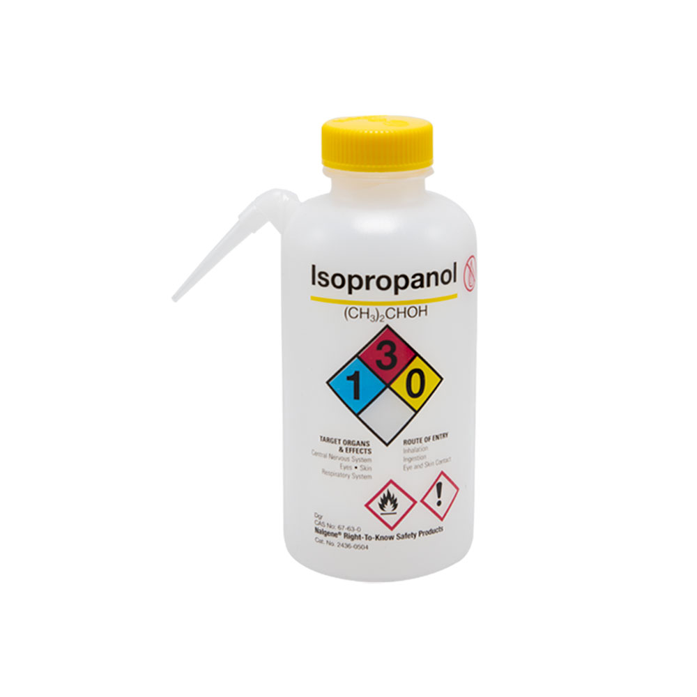 16 oz./500mL Isopropanol Nalgene™ Vented Unitary™ Right-To-Know Wash Bottle with Yellow 38mm Cap