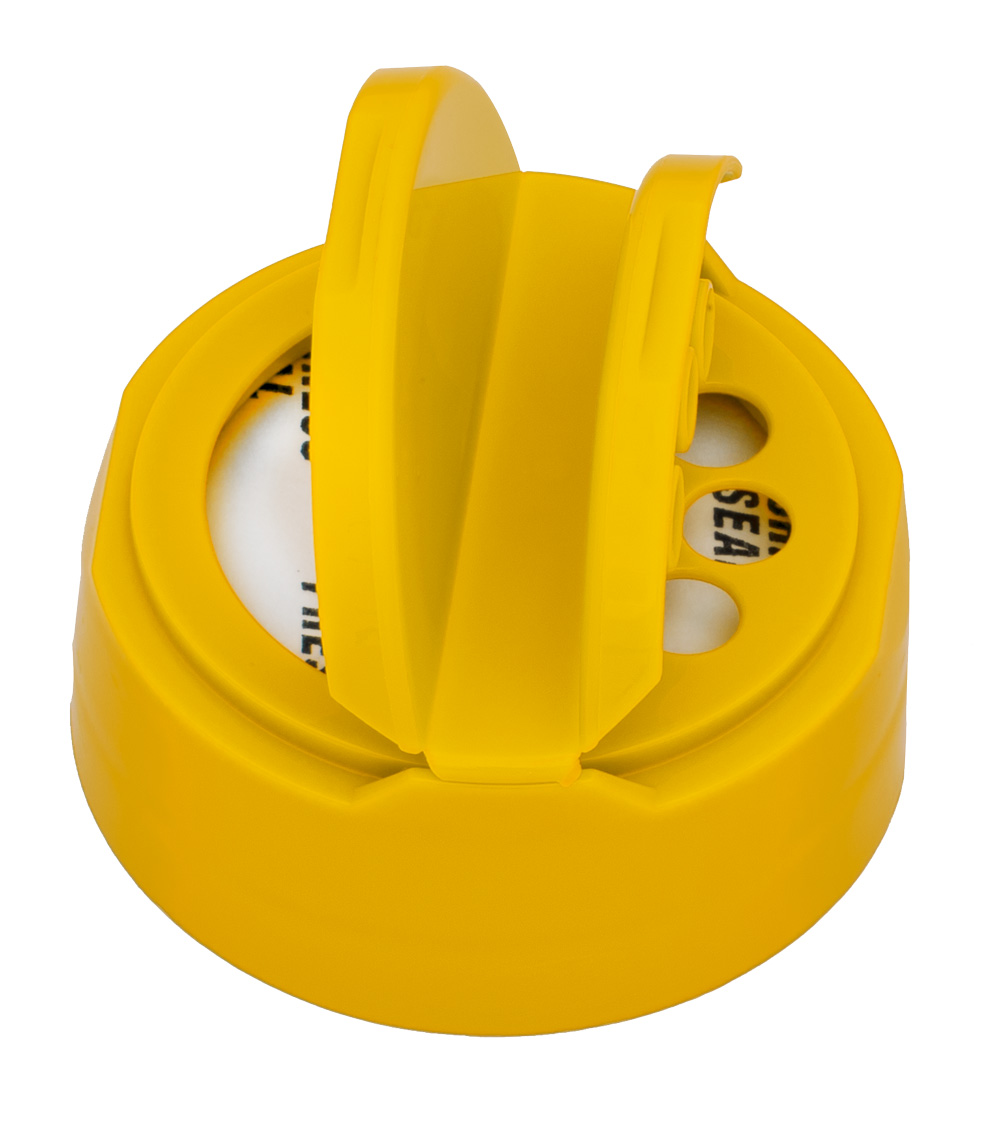 43/485 Yellow 3 Hole Dual Door Spice Cap with Heat Induction Liner for PET Jars