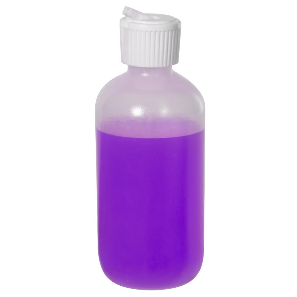 6 oz. LDPE Boston Round Bottle with 24/410 Flip-Top Cap