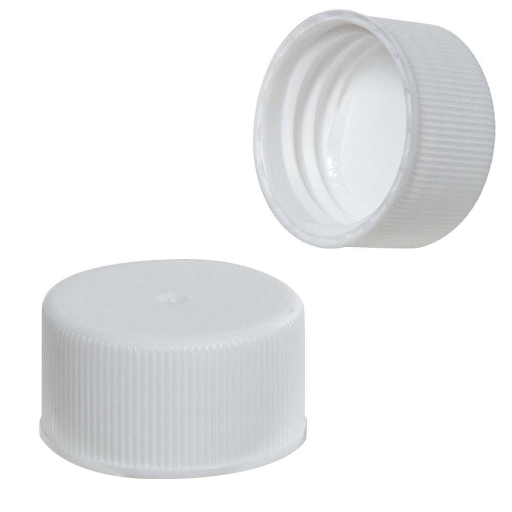 24/414 White Polypropylene Ribbed Cap with F217 Liner