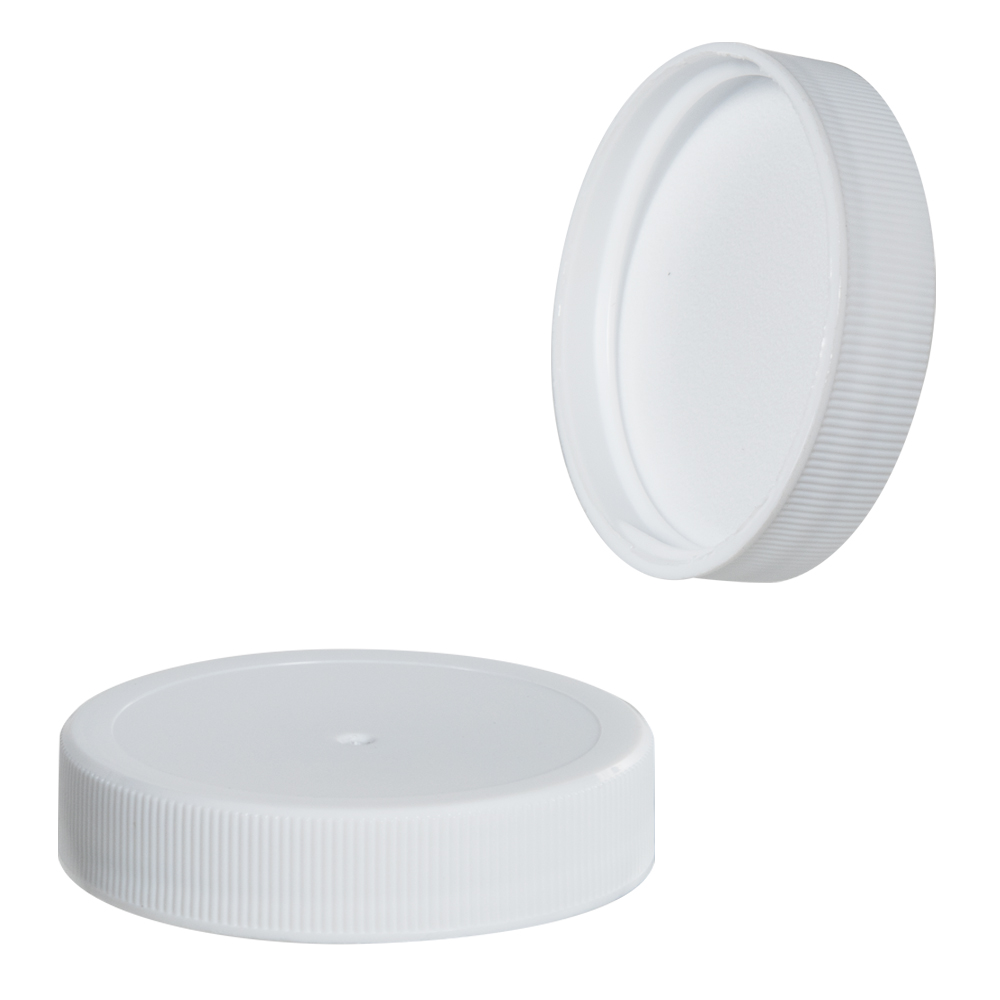 48/400 White Polypropylene Ribbed Cap with F217 Liner